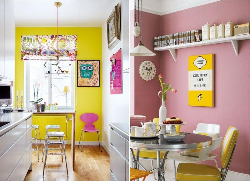 Rózsaszín és sárga kombinációja a konyha belsejében