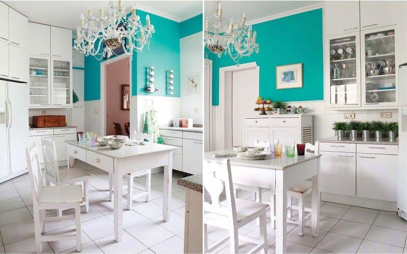 Fehér konyha kék akcentussal