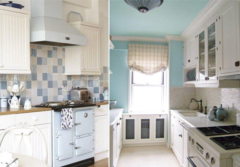 Fehér és kék Provence-i konyha