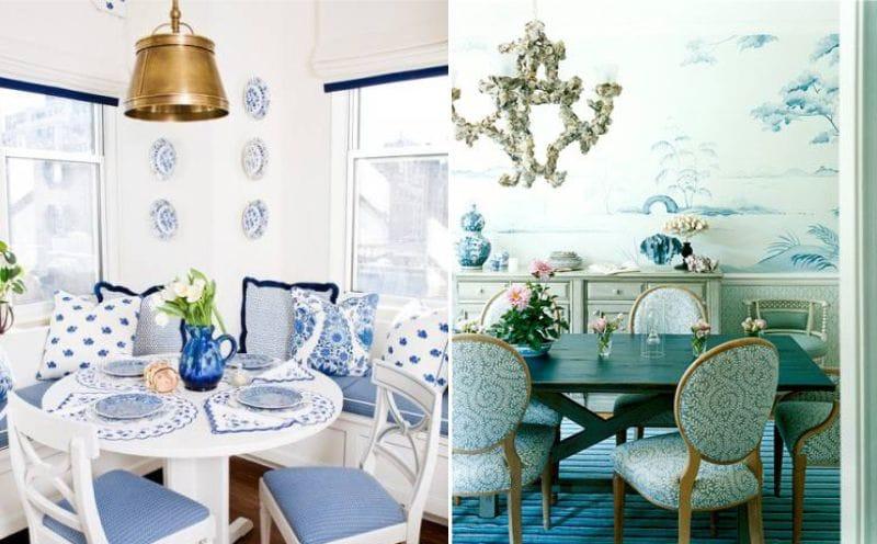 Fehér és kék étkező
