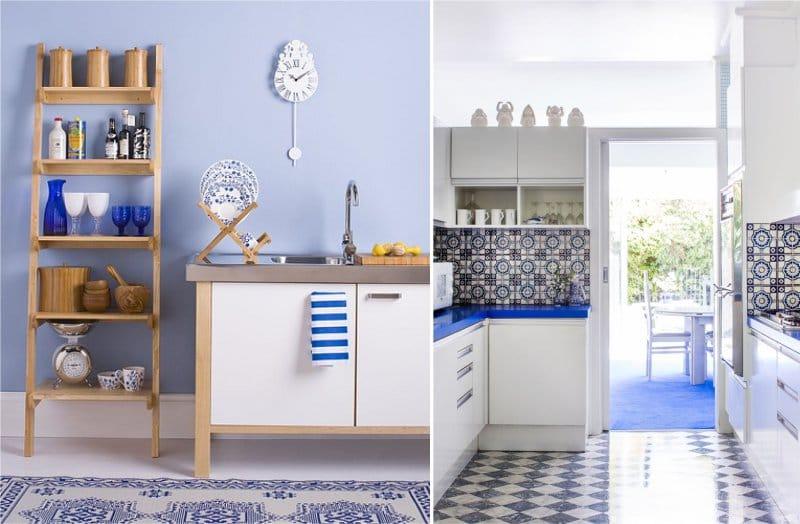 Fehér és kék mediterrán stílusú konyha