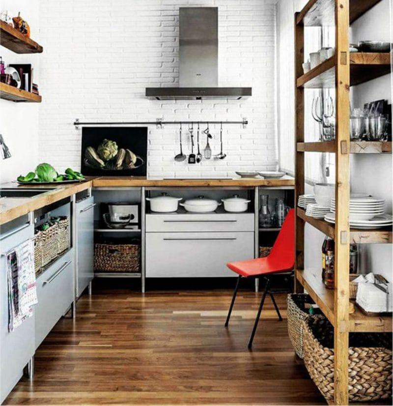 Parquet dans la cuisine à la manière d'un loft
