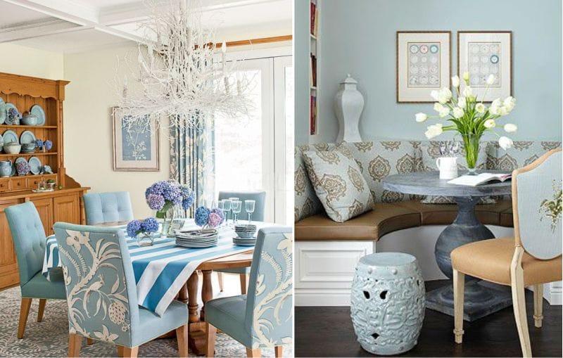 Fa textúra és kék színű az étkező belső