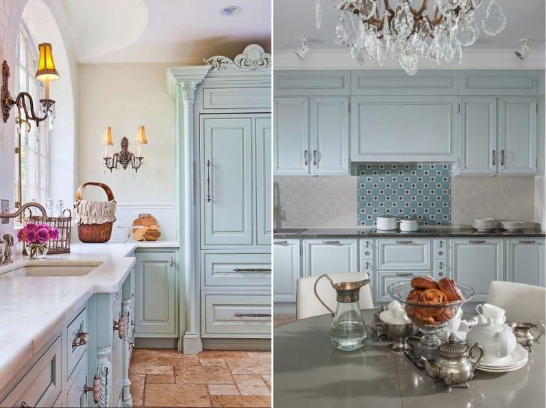 Állítsa be a kék színű, a stílus Provence