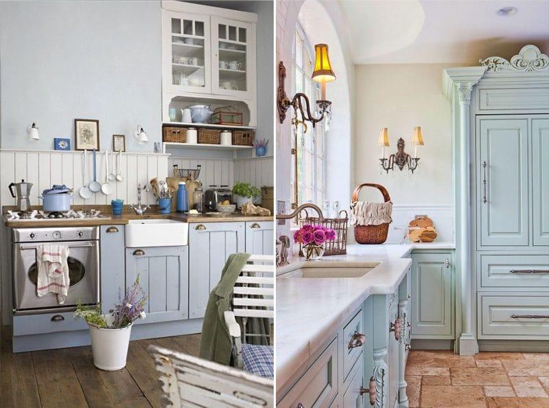 Cuisine bleue du tableau dans le style de la Provence