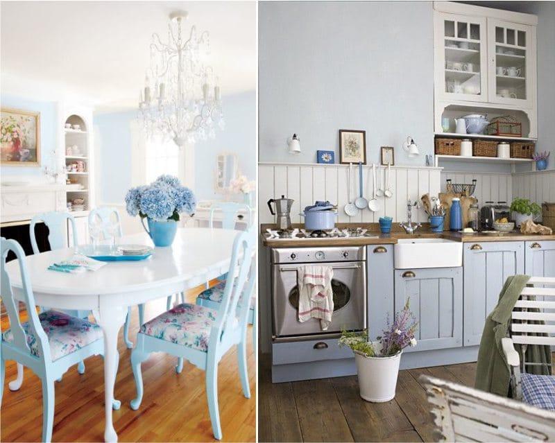 Kék konyha egy angol ház és Provence stílusában