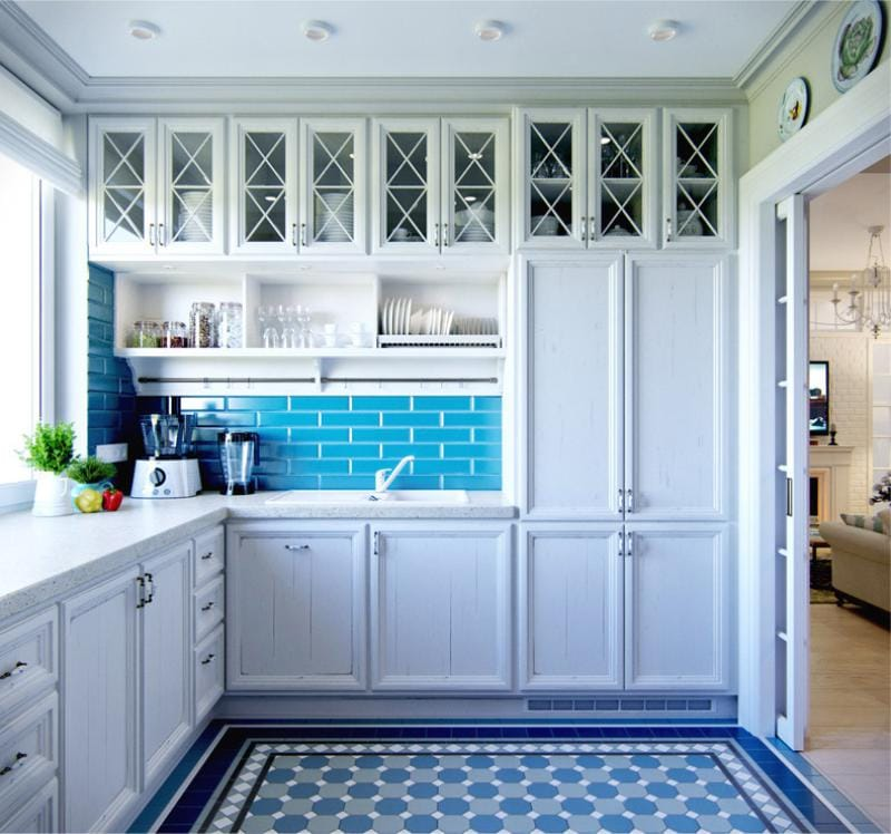 Kék és kék színű a konyha belsejében