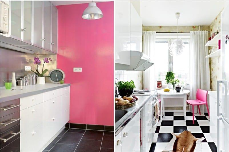 Rózsaszín szín a modern konyha belsejében