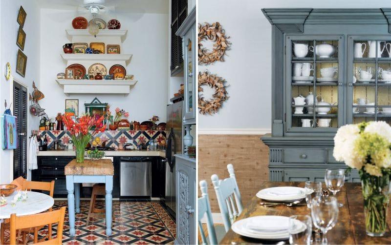A kék-barna konyha belseje és a mediterrán stílusú étkező
