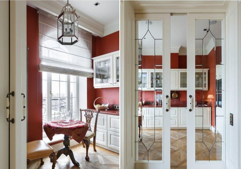 Murs rouges à l'intérieur de la cuisine à l'anglaise