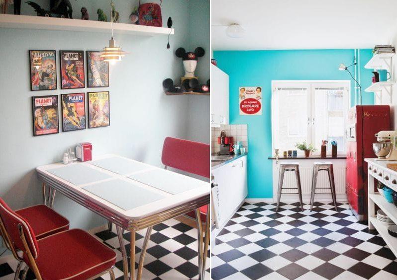 מטבח בסגנון של בית קפה אמריקאי בפנים