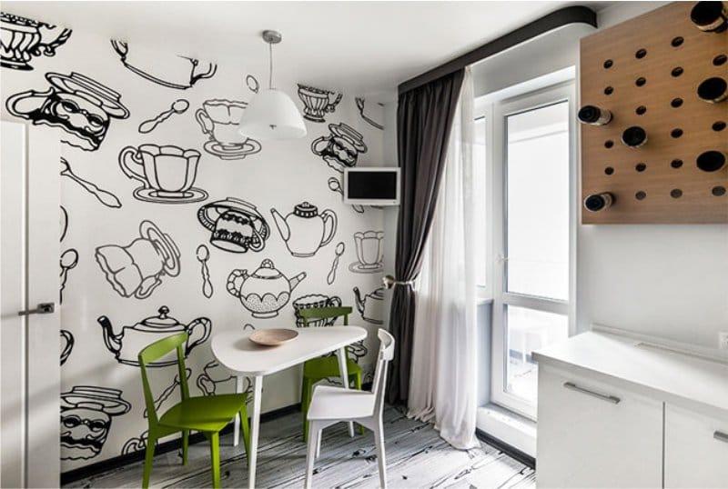 טפטים בסגנון של בית קפה למטבח