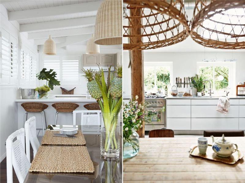 Lampes en osier à l'intérieur de la cuisine