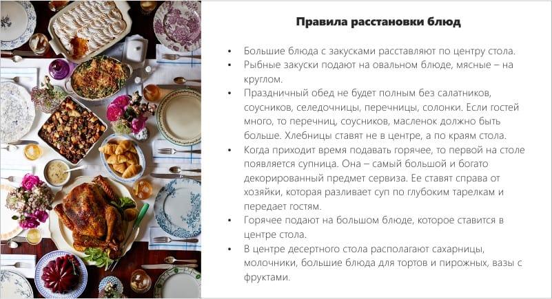 Az ételek elrendezésének szabályai