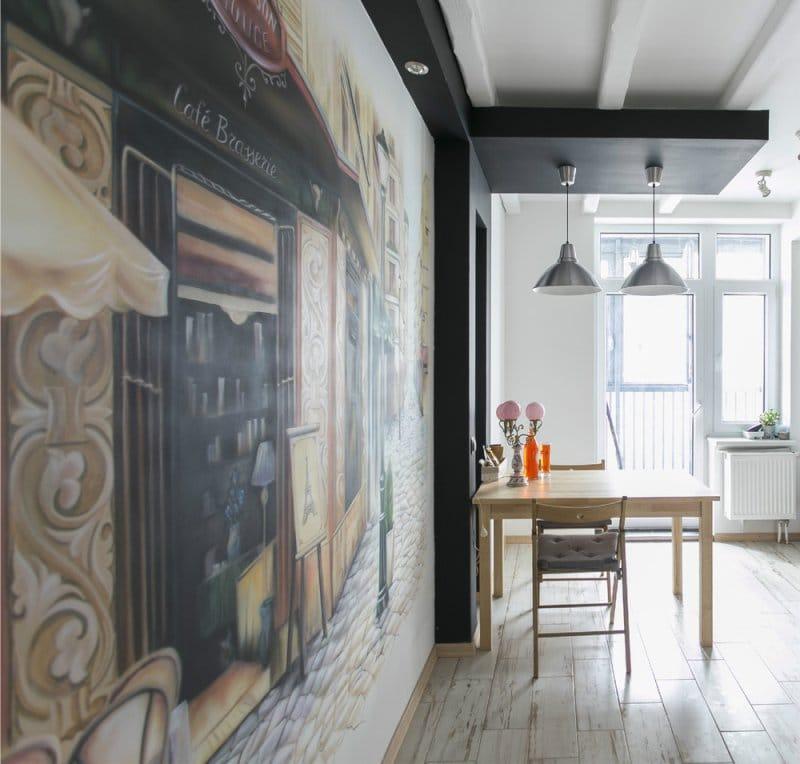 ציור על הקיר של המטבח על הנושא של הקפה הצרפתי
