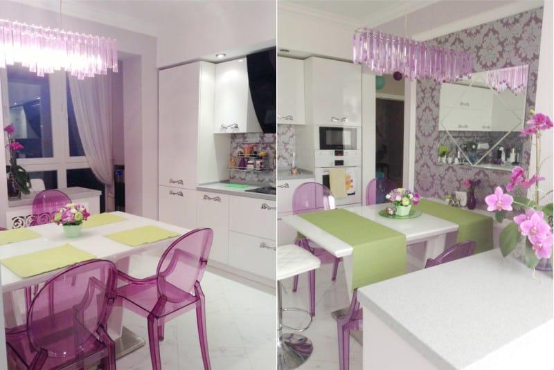 Rózsaszín fal és kötény a konyha belsejében