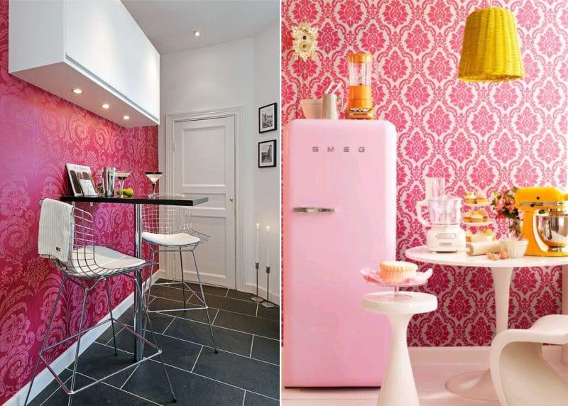 Rózsaszín tapéta a konyha belsejében