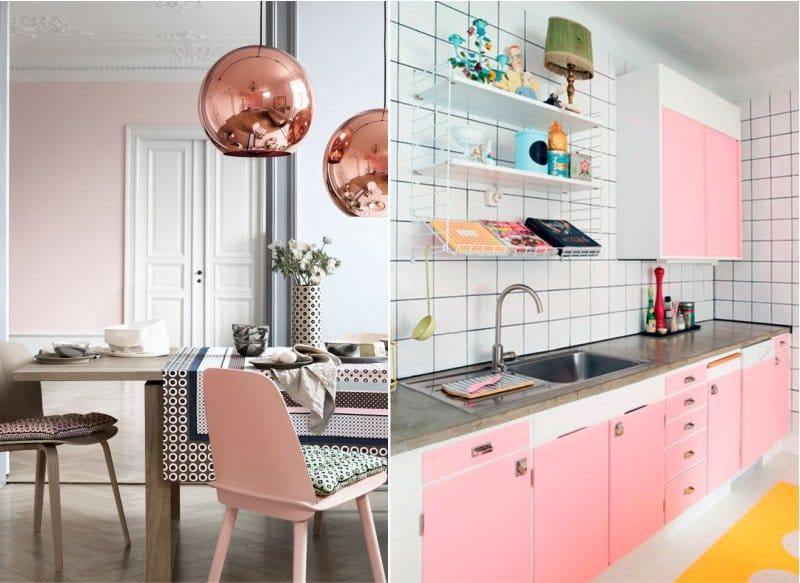 Rózsaszín szín a konyha belsejében