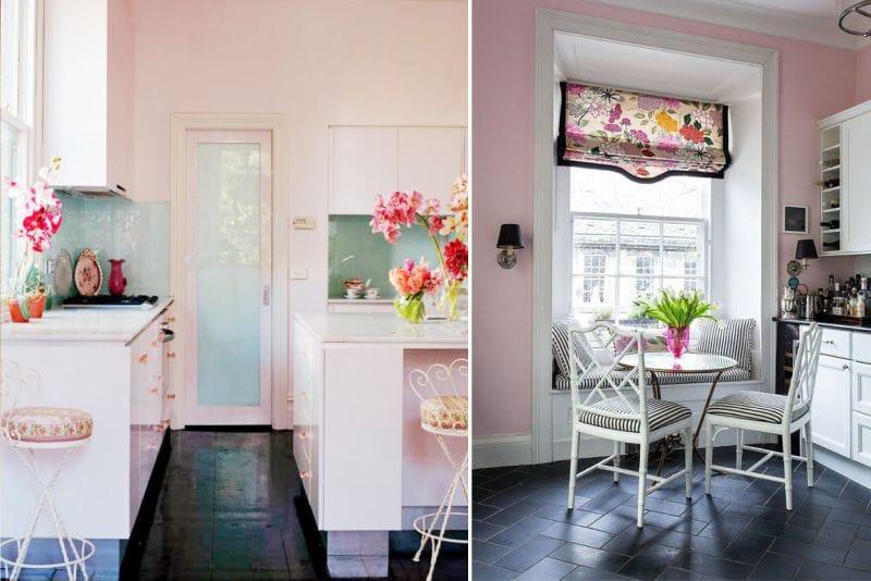 Rózsaszín szín a konyha belsejében egy tömbben