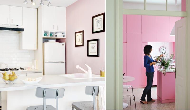 צבע ורוד הפנים של המטבח במערך