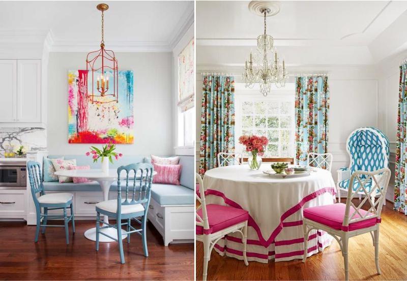 Rózsaszín és kék színű a konyha belsejében