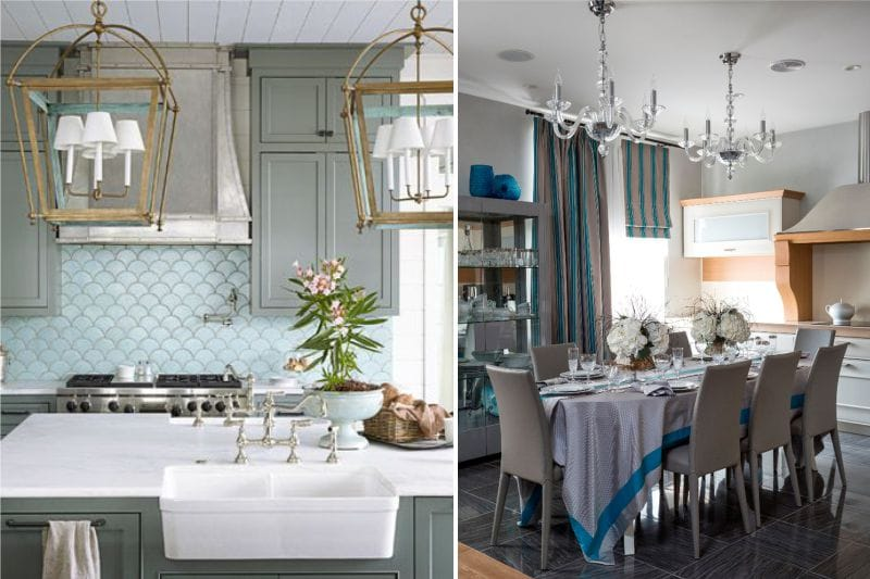 Szürke és kék színű a konyha belsejében