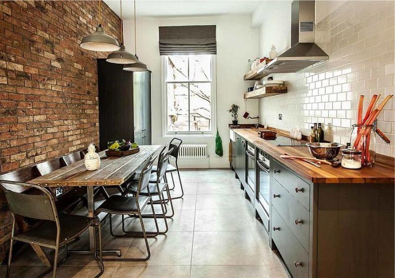 Rideaux à l'intérieur de la cuisine dans le style Loft