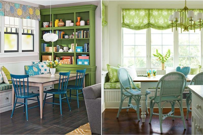 A kék és zöld kombinációja a konyha belsejében
