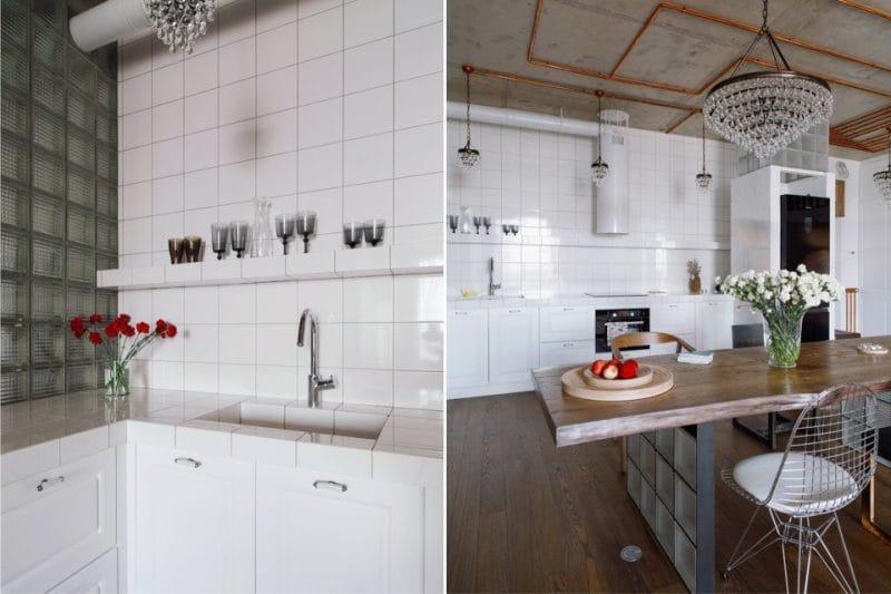Blocs de verre de style loft dans la cuisine