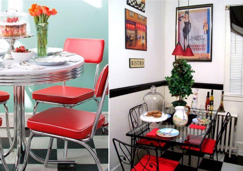 פינת אוכל בפנים המטבח בסגנון של בית קפה