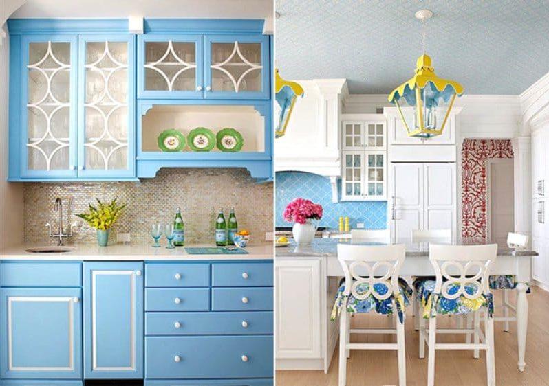 Sárga és kék a konyha belsejében