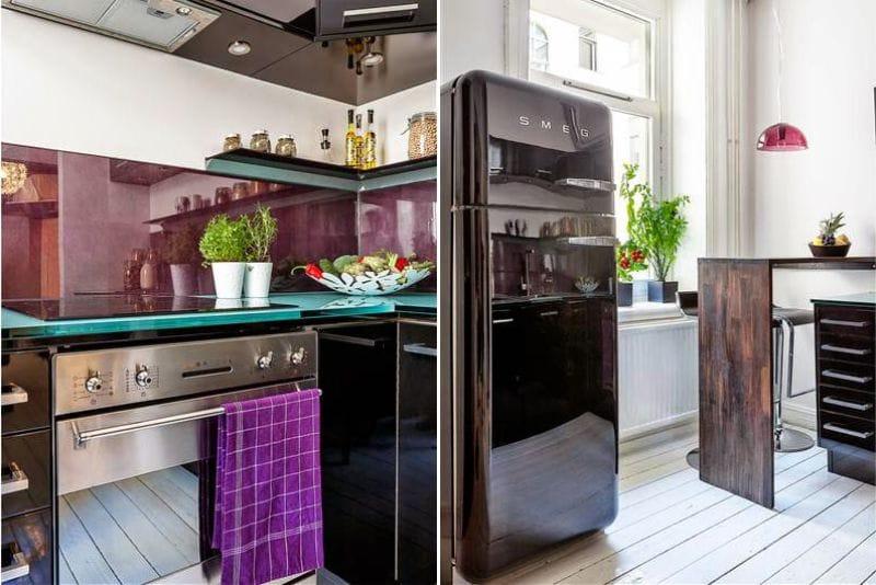 מטבח שחור וסגול