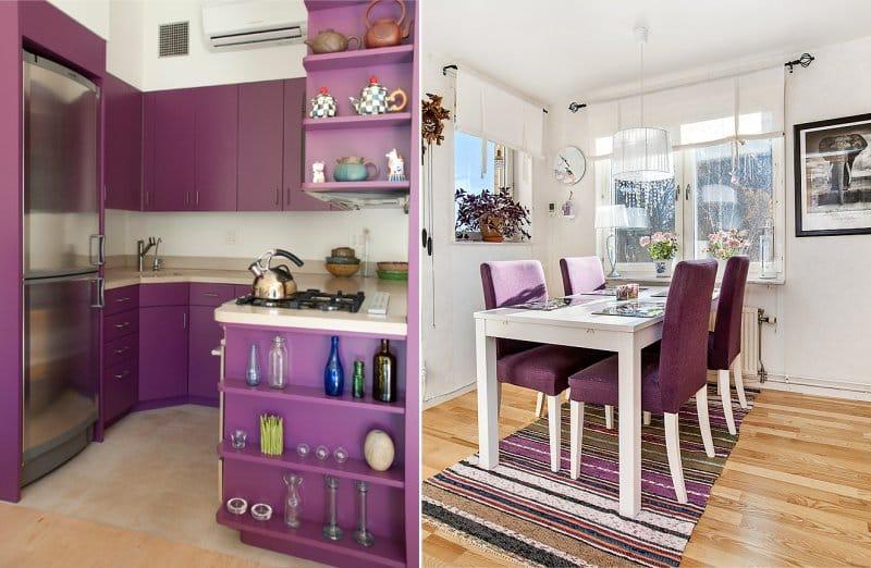 צבע סגול בפנים המטבח