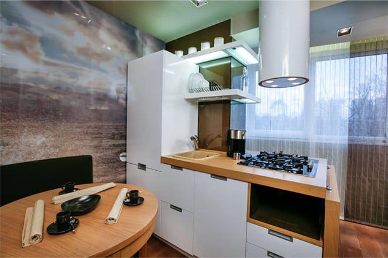 Photowall-paper dans un intérieur de cuisine en style marin