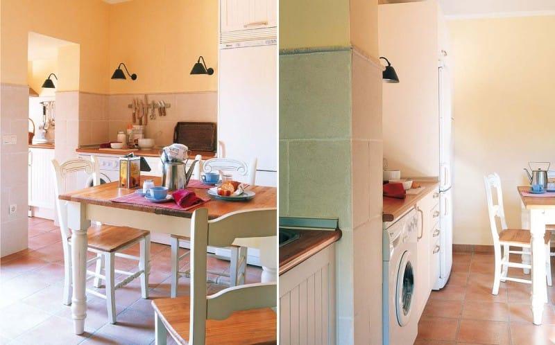 Dapur bergaya oren-hijau