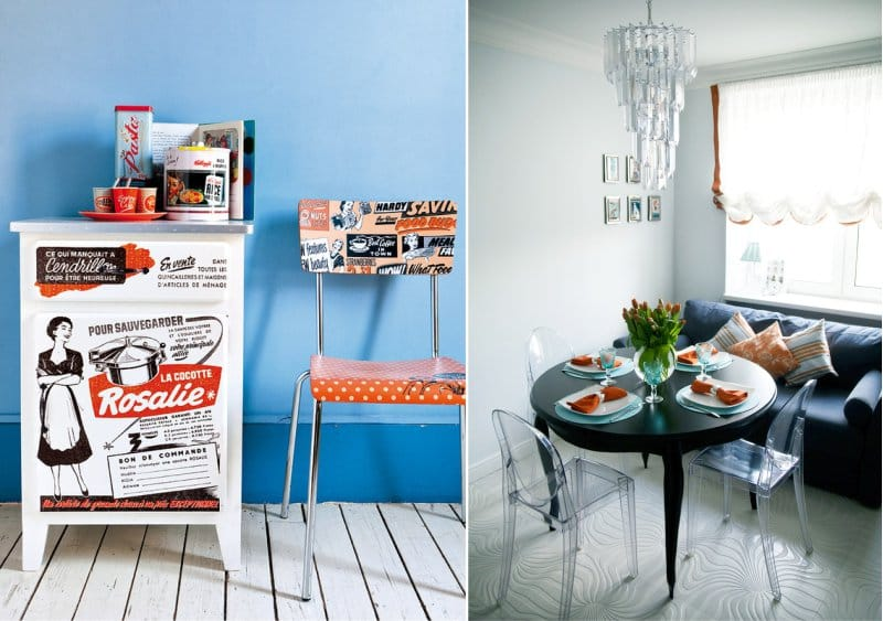 Gabungan biru dan oren di pedalaman dapur