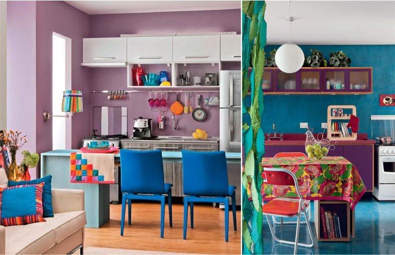 השילוב של כחול סגול בפנים המטבח