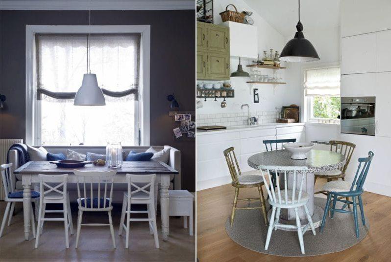 Lampes à l'intérieur de la cuisine dans le style marin