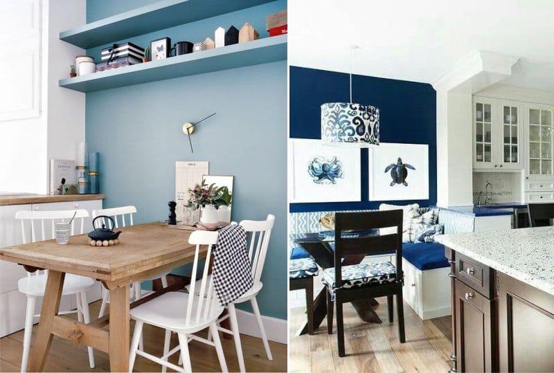 Kék szín a konyhabelső akcentus falán