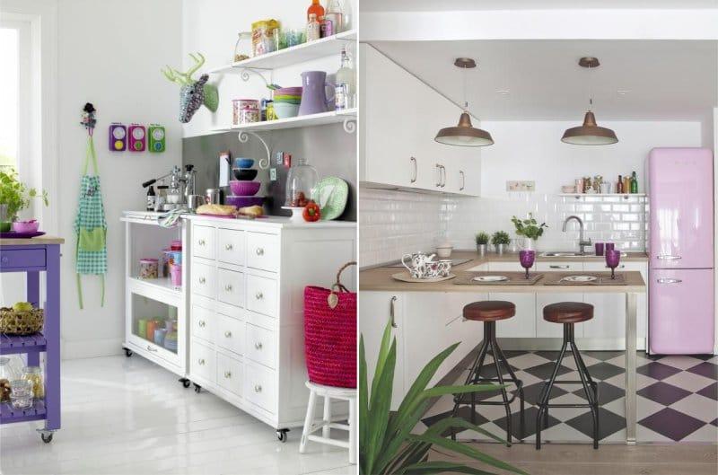 Aksen lilac di pedalaman dapur
