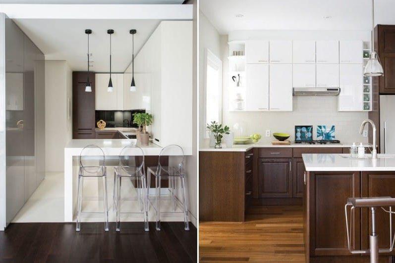 Bucătărie albă maro