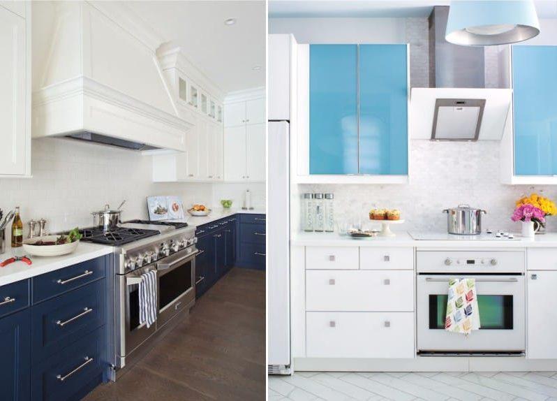 גמא לבן וכחול בפנים המטבח