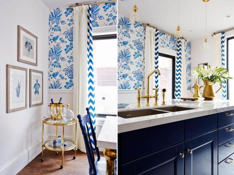 Fehér és kék konyha arany részletekkel