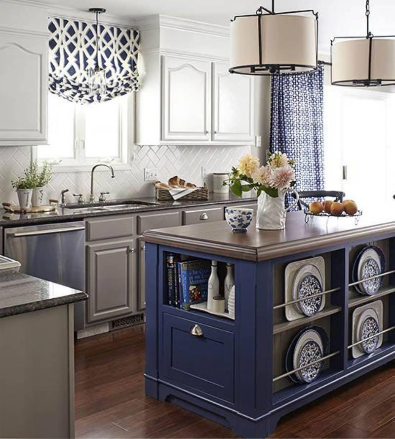 Bézs és kék konyha