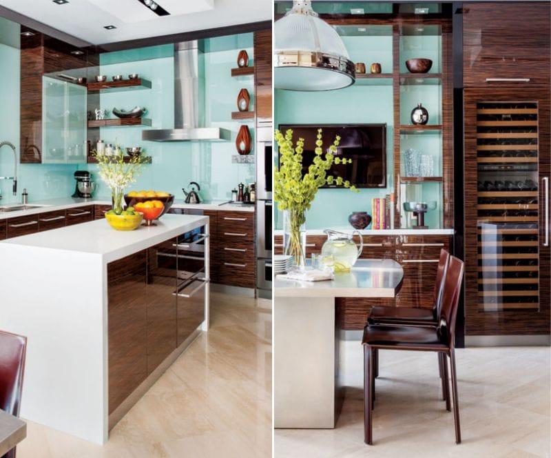 Culoare brună și albastră în interiorul bucătăriei