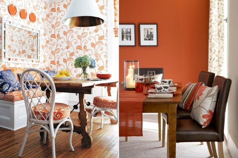 Nuanțe portocalii și maro în interiorul sălii de mese