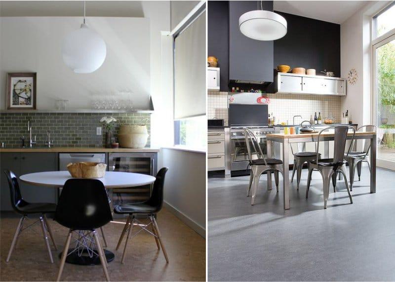 רצפת קורק בפנים המטבח המודרני
