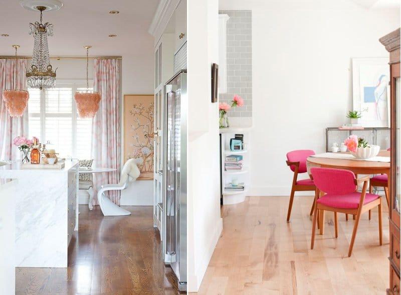 Culoarea roz și maro în interiorul bucătăriei