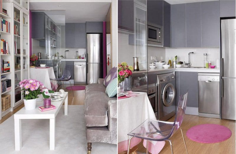 Suite kelabu-lilac di pedalaman ruang tamu dapur