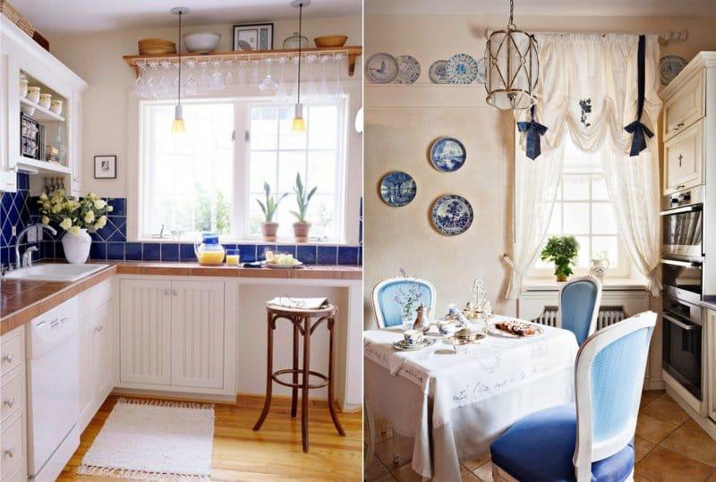 Kék díszítés a konyhabelsőben